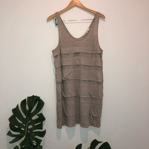3.1 Phillip Lim metallic linen ruffle dress M grey